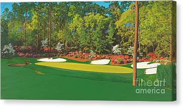 Thirteenth At Augusta Canvas Print by L J Oakes