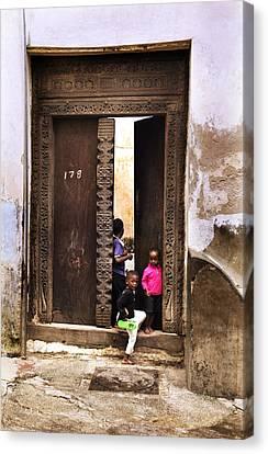Canvas Print featuring the photograph Kids Playing Zanzibar Unguja Doorway by Amyn Nasser
