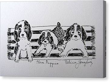 Canvas Print featuring the drawing Three Puppies by Patricia Januszkiewicz