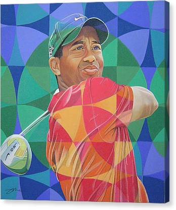 Canvas Print featuring the drawing Tiger Woods by Joshua Morton