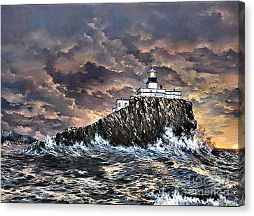 Canvas Print featuring the painting Tillamook Rock Light by Lynne Wright