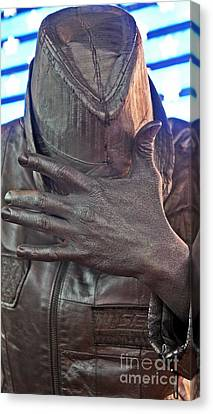 Canvas Print featuring the photograph Tin Man In Times Square by Lilliana Mendez