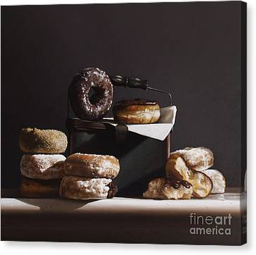 Donuts Canvas Print - Tin With Donuts by Larry Preston