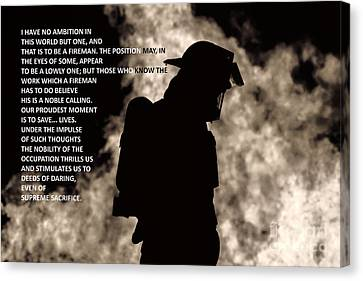 To Be A Fireman Canvas Print by Jim Lepard