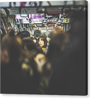 Tokyo Japan Train Woman Canvas Print by Cory Dewald