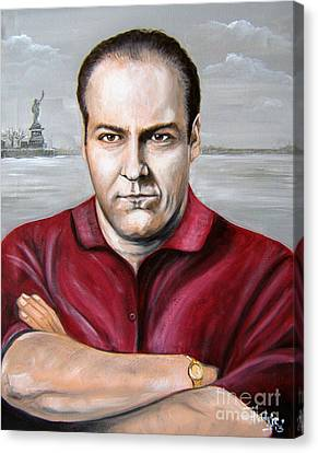Canvas Print featuring the painting Tony Soprano by Patrice Torrillo