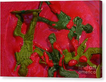 Toy Soldiers In A Pool Of Blood Canvas Print by Amy Cicconi
