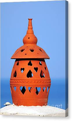 Traditional Roof Pottery In Sifnos Island Canvas Print by George Atsametakis