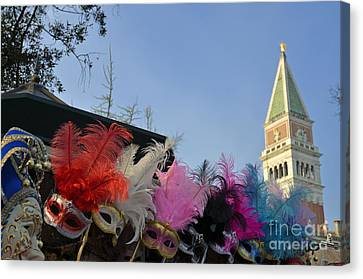 Traditional Venetian Masks With Feathers  Canvas Print by Sami Sarkis