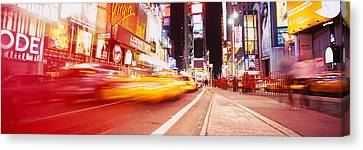 Traffic On The Road, Times Square Canvas Print by Panoramic Images
