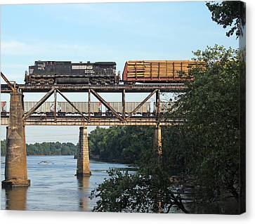2 Trains Moving Over The Congaree Canvas Print