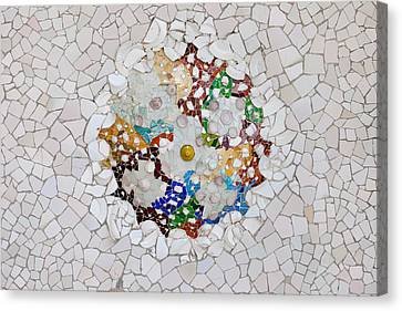 Trencadis Mosaic In Park Guell In Barcelona Canvas Print