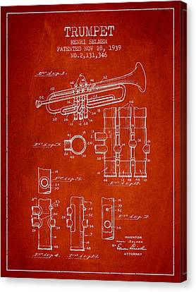 Trumpet Patent From 1939 - Red Canvas Print by Aged Pixel