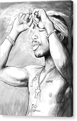 Tupac Shakur Art Drawing Sketch Portrait Canvas Print by Kim Wang