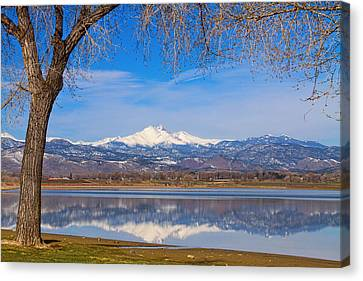 Twin Peaks Longs And Meeker Lake Reflection Canvas Print by James BO  Insogna