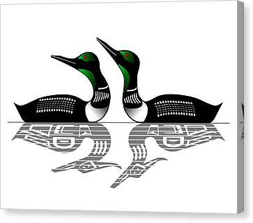 Loon Canvas Print - Two Loons Reflected by Fred Croydon