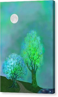 unbordered DREAM TREES AT TWILIGHT Canvas Print by Mathilde Vhargon