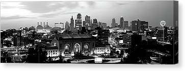 Union Station At Sunset With City Canvas Print by Panoramic Images