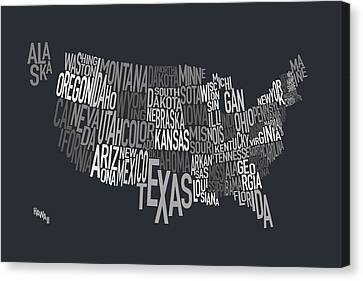 United States Text Map Canvas Print by Michael Tompsett