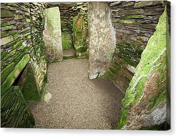 Green Lichen Canvas Print - Unstan Chambered Cairn  by Ashley Cooper