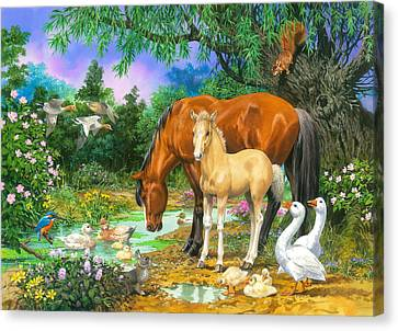 Foal And Mare By The Stream Variant 1 Canvas Print by John Francis