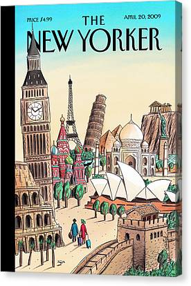 India Canvas Print - New Yorker April 20th, 2009 by Jacques de Loustal