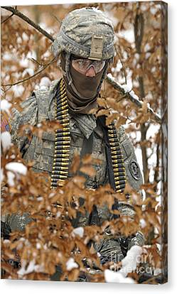U.s. Army Soldier Conducts A Dismounted Canvas Print by Stocktrek Images