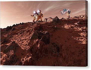 Outer Space Canvas Print - Us Astronauts On Mars by Detlev Van Ravenswaay