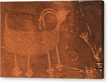 Usa, Utah Prehistoric Petroglyph Rock Canvas Print by Jaynes Gallery