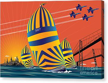 Usna Sunset Sail Canvas Print