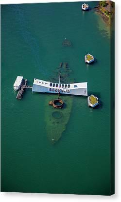 Uss Arizona Memorial, Pearl Harbor Canvas Print by Douglas Peebles