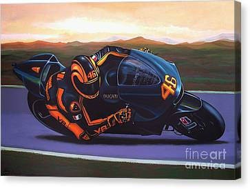 Artwork On Canvas Print - Valentino Rossi On Ducati by Paul Meijering