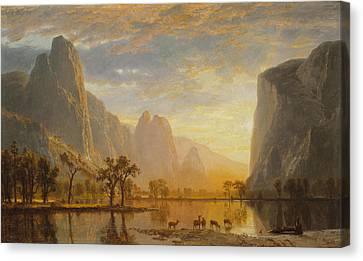Valley Of The Yosemite Canvas Print by Albert Bierstadt