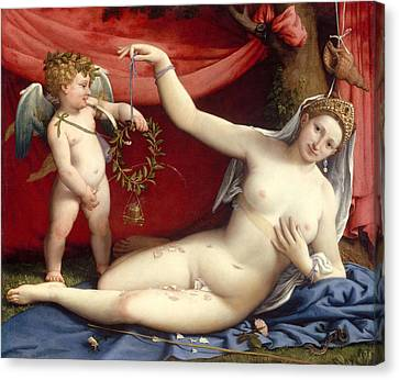 Venus And Cupid Canvas Print by Lorenzo Lotto