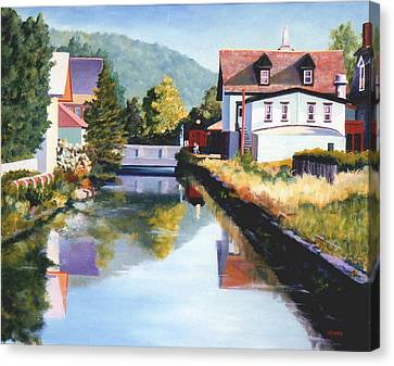 View Along The Canal Canvas Print by Robert Henne