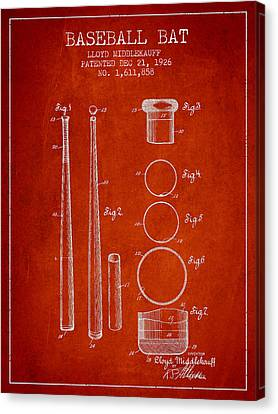 Baseball Canvas Print - Vintage Baseball Bat Patent From 1926 by Aged Pixel