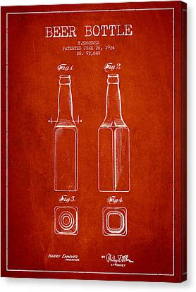 Vintage Beer Bottle Patent Drawing From 1934 - Red Canvas Print by Aged Pixel