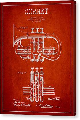 Cornet Patent Drawing From 1901 - Red Canvas Print by Aged Pixel