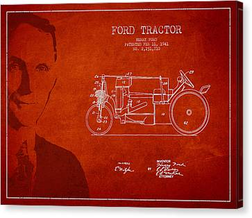 Vintage Ford Tractor Patent Drawing From 1941 Canvas Print