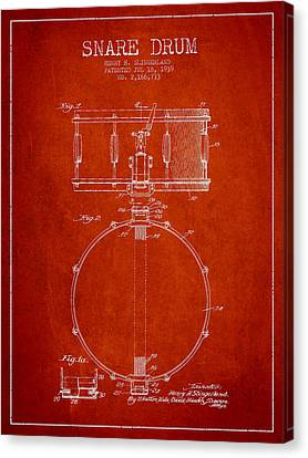 Snare Drum Patent Drawing From 1939 - Red Canvas Print by Aged Pixel