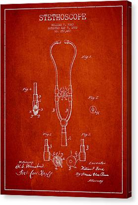 Vintage Stethoscope Patent Drawing From 1882 - Red Canvas Print