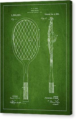 Vintage Tennnis Racketl Patent Drawing From 1921 Canvas Print