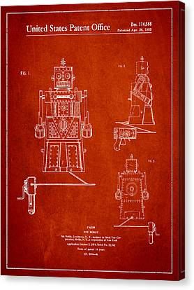 Vintage Toy Robot Patent Drawing From 1955 Canvas Print by Aged Pixel