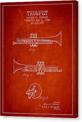 Vintage Trumpet Patent From 1940 - Red Canvas Print by Aged Pixel