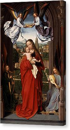 Jesus With A Child Canvas Print - Virgin And Child With Four Angels by Celestial Images