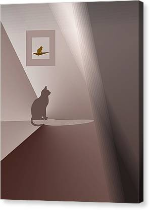 Canvas Print featuring the digital art Waiting For Aimee. by Andrew Penman