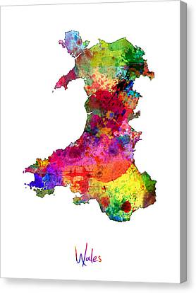 Wales Watercolor Map Canvas Print