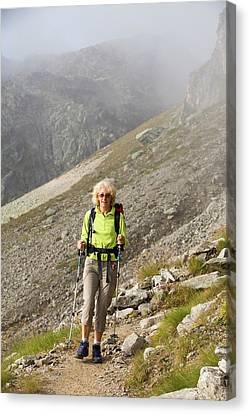 Walkers Doing The Tour Du Mont Blanc Canvas Print by Ashley Cooper