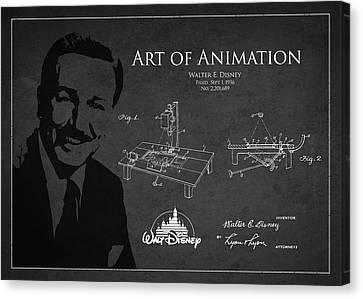 Disneyland Canvas Print - Walt Disney Patent From 1936 by Aged Pixel