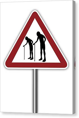 Warning Sign With Elderly People Symbol Canvas Print by Alfred Pasieka